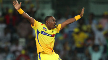 Dwayne Bravo celebrates after taking a wicket in the final over