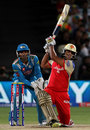 Saurabh Tiwary powers a shot past the bowler, Pune Warriors v Royal Challengers Bangalore, IPL 2013, Pune, May 2, 2013