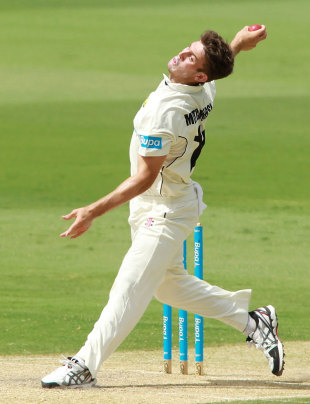 Mitchell Marsh in his delivery stride, South Australia v Western Australia, Sheffield Shield, Adelaide, March 7, 2013