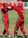 Shingi Masakadza celebrates a wicket with Brendan Taylor, Zimbabwe v Bangladesh, 1st ODI, Bulawayo, May 3, 2013