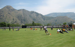 The Pakistan cricket team during a training session at their conditioning camp in Abbottabad, Pakistan, May 3, 2013