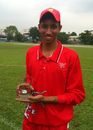 Mohammad Ghazanfar shows off his Man of the Match award for claiming 8-14 against Thailand U19 at the ACC Under-19 Elite 2013 in Malaysia