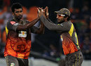 Thisara Perera and Kumar Sangakkara celebrate a wicket, Sunrisers Hyderabad v Delhi Daredevils, IPL, Hyderabad, May 4, 2013