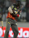 Darren Sammy celebrates with the pacifier, Sunrisers Hyderabad v Delhi Daredevils, IPL, Hyderabad, May 4, 2013