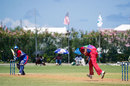 Malachi Jones delivers the ball, Bermuda v USA, World Cricket League Division 3, Hamilton, May 4, 2013