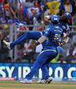 Kieron Pollard celebrates catching Suresh Raina