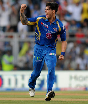 Mitchell Johnson celebrates a wicket, Mumbai Indians v Chennai Super Kings, IPL, Mumbai, May 5, 2013