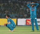Wayne Parnell and Udit Birla are disappointed after missing an run-out chance in the last over, Rajasthan Royals v Pune Warriors, IPL 2013, Jaipur, May 5, 2013