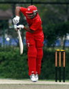 Anshuman Rath gets up on his toes to defend a ball during his innings of 81 against UAE U19 at the Kinrara Oval during the ACC Under-19 Elite 2013 being played in Kuala Lumpur, Malaysia