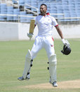 Rayad Emrit celebrates after Trinidad & Tobago scored the winning runs, Jamaica v Trindad and Tobago, Regional Four Day Competition, semi-final, 4th day, May 5, 2013