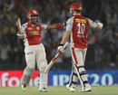 R Sathish and David Miller celebrate a stunning victory, Kings XI Punjab v Royal Challengers Bangalore, IPL 2013, Mohali, May 6, 2013