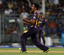 Rajat Bhatia celebrates the wicket of Sachin Tendulkar, Mumbai Indians v Kolkata Knight Riders, IPL, Mumbai, May 7, 2013