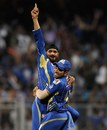 Harbhajan Singh and Rohit Sharma celebrate a wicket, Mumbai Indians v Kolkata Knight Riders, IPL, Mumbai, May 7, 2013