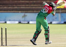 Jahural Islam has his middle stump flattened, Zimbabwe v Bangladesh, 3rd ODI, Bulawayo, May 8, 2013
