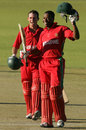 Vusi Sibanda celebrates after scoring the winning runs and his second ODI century