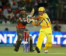 Suresh Raina pulls the ball through the onside, Sunrisers Hyderabad v Chennai Super Kings, IPL 2013, Hyderabad, May 8, 2013