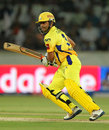 Suresh Raina punches a drive through the offside, Sunrisers Hyderabad v Chennai Super Kings, IPL 2013, Hyderabad, May 8, 2013