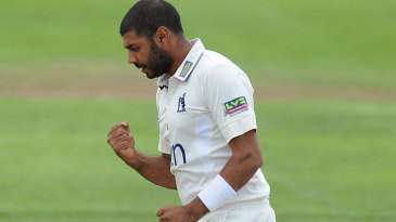 Jeetan Patel celebrates one of his two wickets