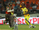 Jason Holder tries to run-out Shikhar Dhawan, Sunrisers Hyderabad v Chennai Super Kings, IPL 2013, Hyderabad, May 8, 2013
