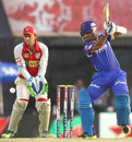 Ajinkya Rahane plays off the back foot through cover