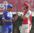 Rahul Dravid calms Adam Gilchrist down after an unsporting appeal from Ajit Chandila, Kings XI Punjab v Rajasthan Royals, IPL, Mohali, May 9, 2013