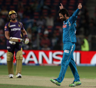 Parvez Rasool celebrates after dismissing Jacques Kallis, for his first IPL wicket, Pune Warriors v Kolkata Knight Riders, IPL 2013, Pune, May 9, 2013