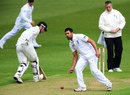 Ravi Bopara fields the ball off his own bowling, England Lions v New Zealanders, Tour match, Grace Road, 1st day, May 9, 2013