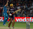 Gautam Gambhir fell to Mitchell Marsh after scoring a 44-ball 50, Pune Warriors v Kolkata Knight Riders, IPL 2013, Pune, May 9, 2013