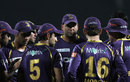 Kolkata Knight Riders in a huddle before taking the field