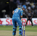 Aaron Finch finds his stumps broken by a Jacques Kallis delivery, Pune Warriors v Kolkata Knight Riders, IPL 2013, Pune, May 9, 2013