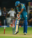 Bhuvneshwar Kumar's offstump was sent cartwheeling by L Balaji, Pune Warriors v Kolkata Knight Riders, IPL 2013, Pune, May 9, 2013