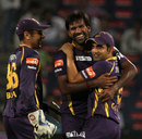 Gautam Gambhir and L Balaji celebrate the last wicket, Pune Warriors v Kolkata Knight Riders, IPL 2013, Pune, May 9, 2013