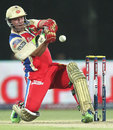 AB de Villiers gets in position to play a pull shot