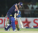 Ben Rohrer drives during his knock of 32, Delhi Daredevils v Royal Challengers Bangalore, IPL 2013, Delhi, May 10, 2013