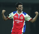 Jaydev Unadkat celebrates after taking a wicket, Delhi Daredevils v Royal Challengers Bangalore, IPL 2013, Delhi, May 10, 2013