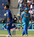 Mitchell Johnson celebrates taking Aaron Finch's wicket, Pune Warriors v Mumbai Indians, IPL, Pune, May 11, 2013
