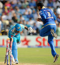 Angelo Mathews is run out by a direct hit from Sachin Tendulkar