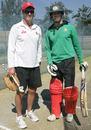 Zimbabwe coach Andy Waller with his son Malcolm Waller, Zimbabwe v Bangladesh, 1st T20, Bulawayo, May 11, 2013