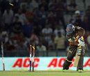 Biplab Samantray is bowled for a golden duck, Kings XI Punjab v Sunrisers Hyderabad, IPL, Mohali, May 11, 2013