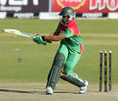 Shakib Al Hasan goes for a pull