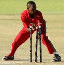 Titotenda Mutombodzi runs out Nasir Hossain, Zimbabwe v Bangladesh, 1st T20, Bulawayo, May 11, 2013