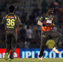 Darren Sammy does a little jig with a pacifier after claiming a wicket