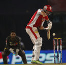 Luke Pomersbach defends off the back foot, Kings XI Punjab v Sunrisers Hyderabad, IPL, Mohali, May 11, 2013
