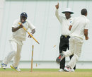 Barbados players celebrate after the last wicket falls