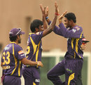 Sachithra Senanayake celebrates a wicket with his team mates, Kolkata Knight Riders v Royal Challengers Bangalore, IPL, Ranchi, May 12, 2013
