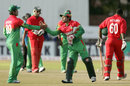 Mushfiqur Rahim congratulates his team-mates after they beat Zimbabwe, Zimbabwe v Bangladesh, 2nd T20I, Bulawayo, May 12, 2013