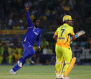 Kevon Cooper is exultant after dismissing MS Dhoni for 2