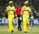 Dwayne Bravo and Ravindra Jadeja added 28 runs in quick time in the last two overs, Rajasthan Royals v Chennai Super Kings, IPL 2013, Jaipur, May 12, 2013