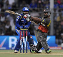 Shikhar Dhawan powers a shot through the onside, Mumbai Indians v Sunrisers Hyderabad, IPL 2013, Mumbai, May 13, 2013