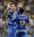 Mitchell Johnson celebrates after dismissing Shikhar Dhawan, Mumbai Indians v Sunrisers Hyderabad, IPL 2013, Mumbai, May 13, 2013